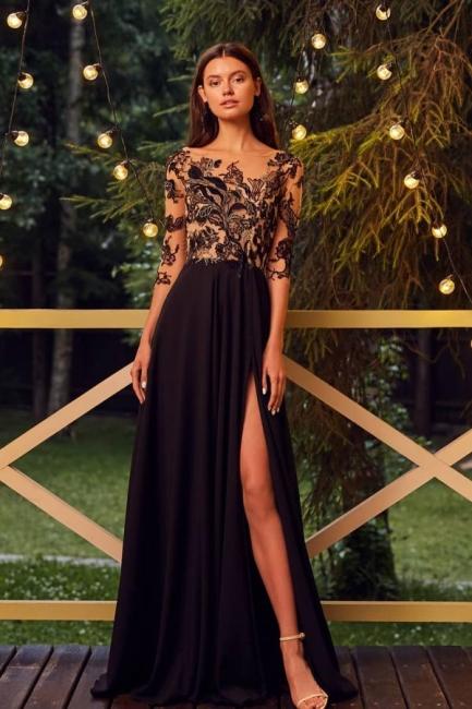 Designer ball gowns black | Evening dresses long cheap