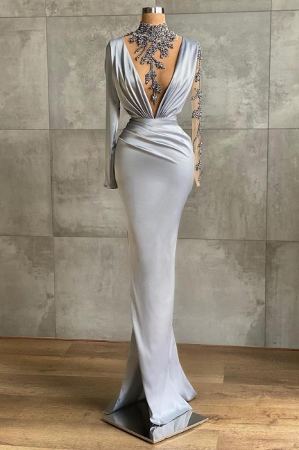 Silver Prom Dresses Long Cheap | Evening dresses with sleeves