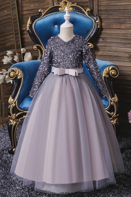 Weinrot Blumenmädchenkleider mit Ärmel | Kleider für Blumenmädchen