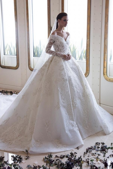 Luxury wedding dresses with sleeves | Lace wedding dresses A line