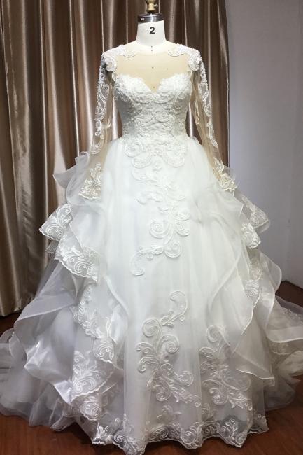 Elegant wedding dresses with sleeves | Wedding dress A line