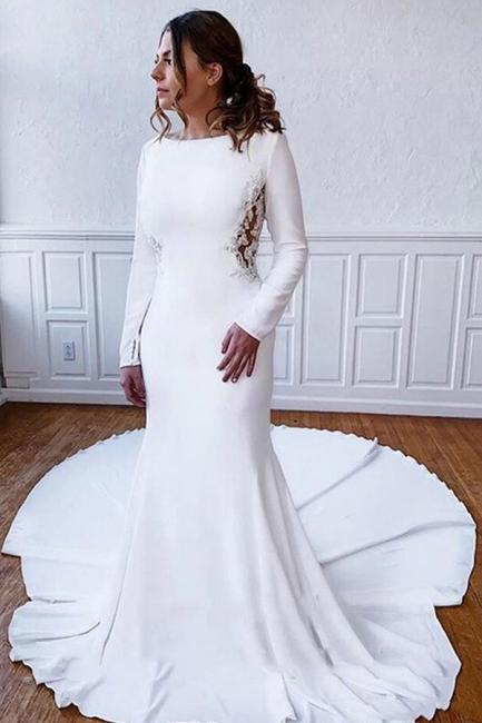 Schlichtes Hochzeitskleid Satin | Brautkleider mit Ärmel