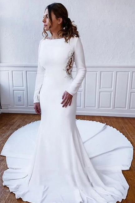 Simple wedding dress satin | Wedding dresses with sleeves