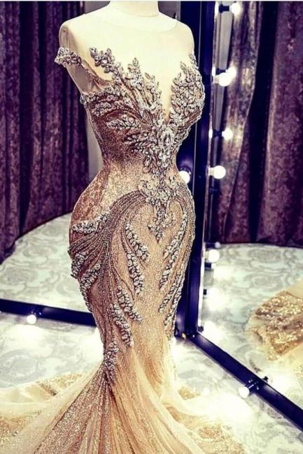 Extravagant evening dresses gold | Long glitter prom dresses