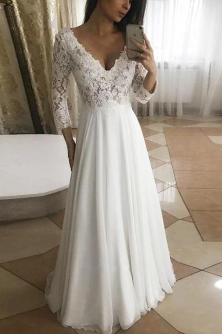 Wunderschöne Brautkleider Mit Ärmel   Hochzeitskleider A Linie Spitze