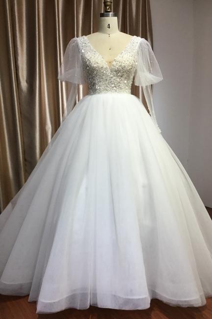 Designer Hochzeitskleider A Linie | Brautkleider Mit Ärmel