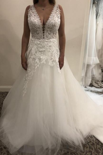 Schlichtes Brautkleid A linie | Hochzeitskleider Mit Spitze