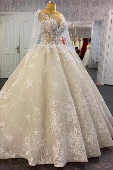Prinzessin Hochzeitskleider Spitze | Brautkleid mit Ärmel
