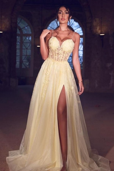 Simple prom dress cheap | Yellow evening dresses long with lace