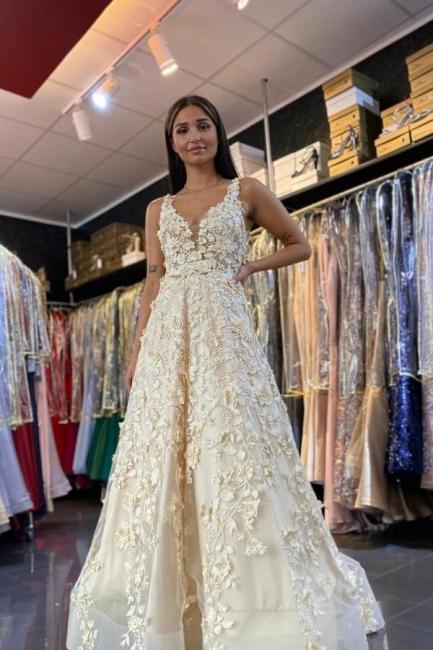 Romantice V Neck A Line Floor Length Lace Long Prom Dresses Evening Gowns