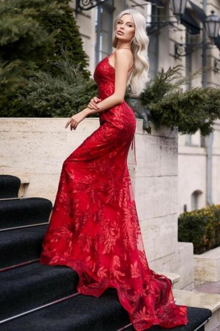 Designer Abendkleider Lang Spitze | Rote Abiballkleider Günstig