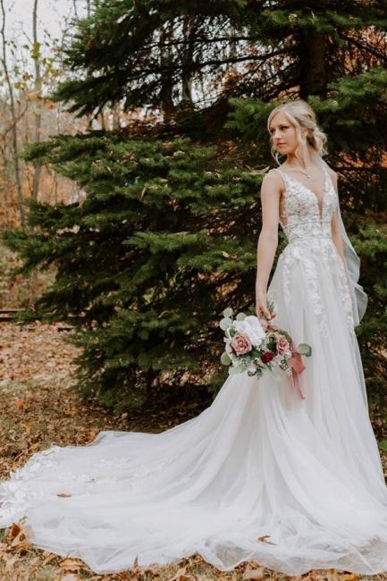 Simple wedding dress V neckline | Wedding dresses a line lace