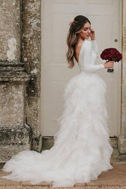 Simple wedding dresses white | Wedding dresses with sleeves