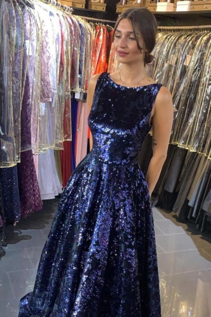 Navy Blue Sparkly Sequined A Line Long Prom Dresses