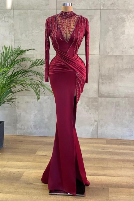 Luxury Evening Dresses Long Wine Red | Prom dresses with sleeves