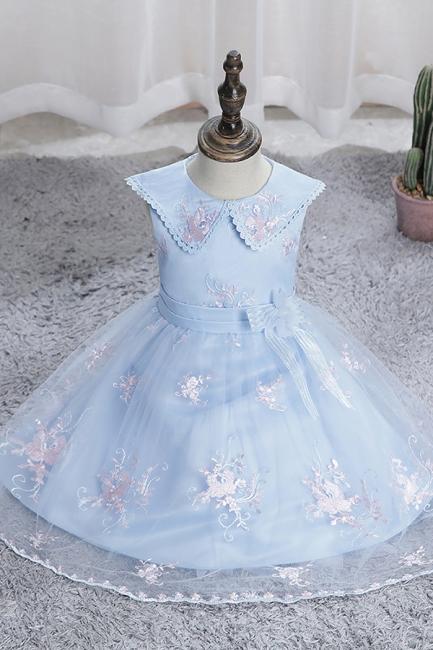 Blaue Blumenmädchenkleider Kurz | Kleider für Blumenkinder