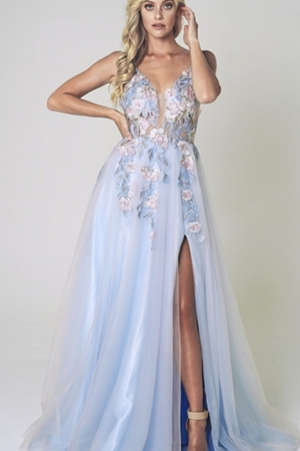 Cheap Sweetheart Split Tulle Floor Length Prom Dresses Evening Gowns With Lace