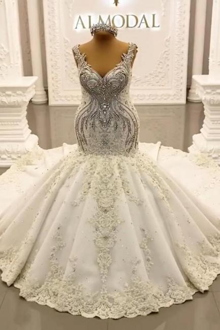Luxury Weiße Hochzeitskleider Meerjungfrau Spitze Brautkleider Online