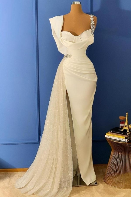 Long glitter prom dresses | White evening dresses cheap