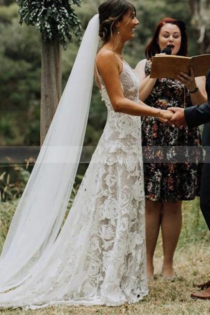 Schlichtes Hochzeitskleid A Linie Spitze | Elegante Brautkleider Online