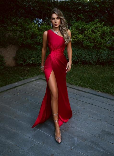 Rote Abendkleider Lang Günstig | Schlichtes Abiballkleid