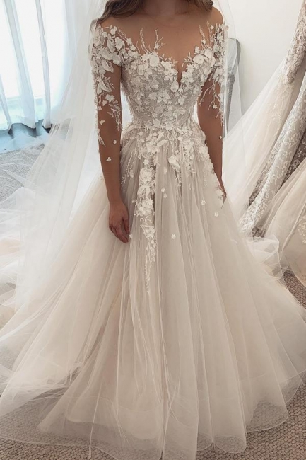 Designer Wedding Dresses A Line Lace | Wedding dresses with sleeves