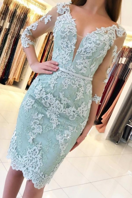 Mint Cocktail Dresses Short Cheap | Evening dresses with sleeves