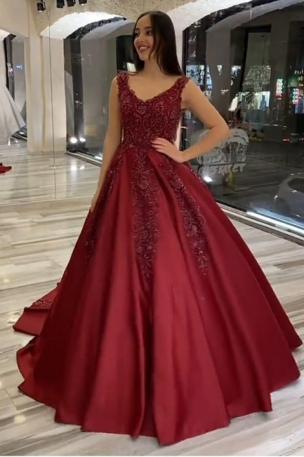 Wedding dresses A line burgundy | Wedding dresses with lace