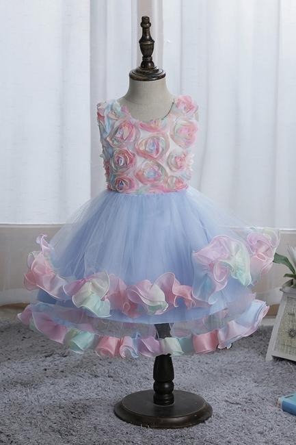 Schicke Blumenmädchenkleider Blau | Kinder Hochzeitskleider Günstig