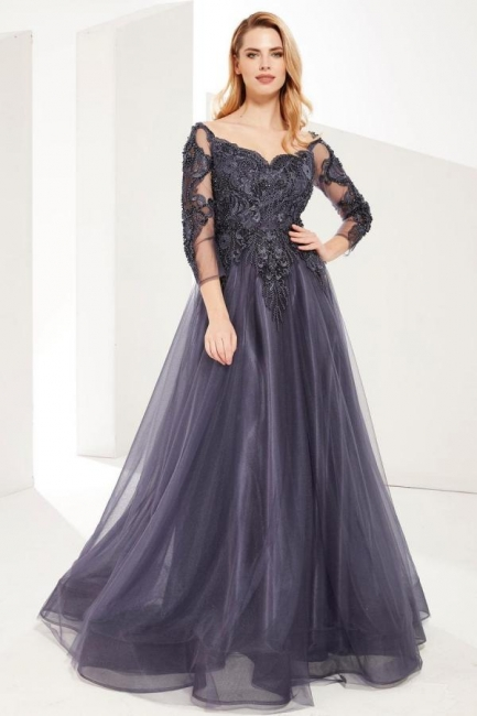 Evening dresses long gray | Prom dresses with sleeves