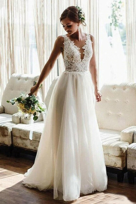 Simple wedding dress A line with lace | Wedding dresses tulle