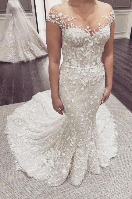 Beautiful wedding dresses mermaid lace | Cream wedding dress
