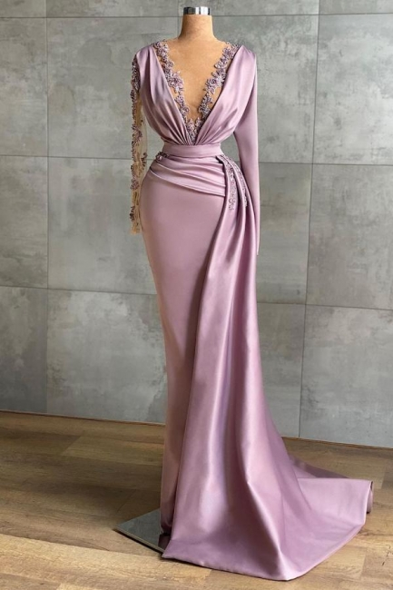Lilac Evening Dresses Long Cheap | Prom dresses with sleeves