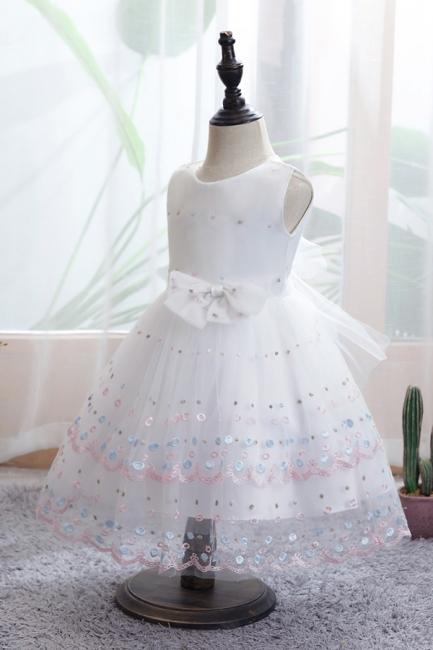 Weiße Blumenmädchenkleider Günstig | Tüll Kinder Hochzeitskleider