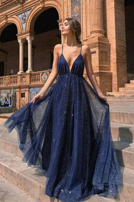 Navy Blue Sparkly Sweetheart Floor Length Backless Sequined Evening Gowns Prom Dresses