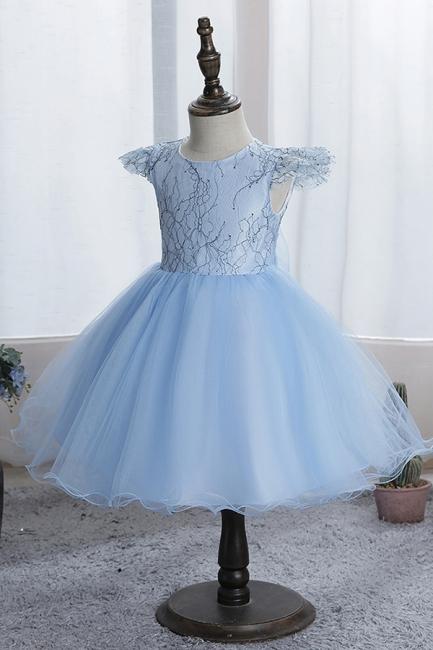Schlichtes Blumenmädchenkleid Blau   Kinder kleider Für Blumenmädchen