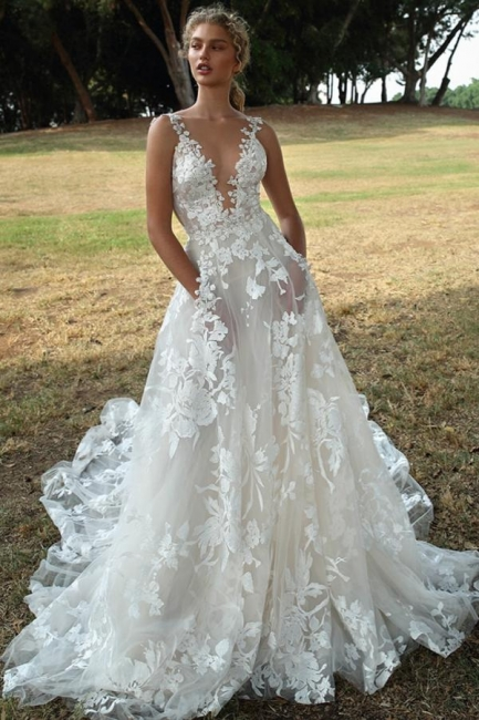 Gorgeous Wedding Dresses A Line Lace | Wedding dresses boho
