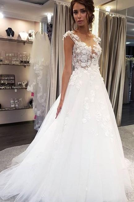 Schöne Brautkleider A Linie | Tüll Hochzeitskleider mit Spitze
