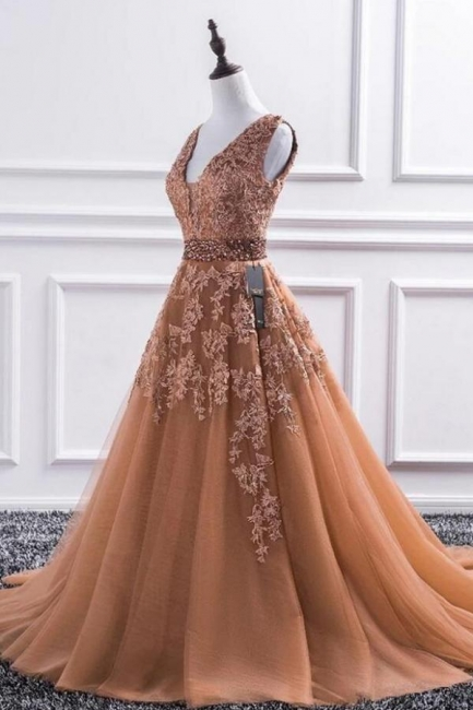 Elegant Evening Dress Long V Neck | Ball gowns with lace
