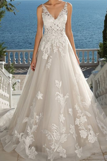 Designer wedding dress A line lace | Wedding dresses cheap