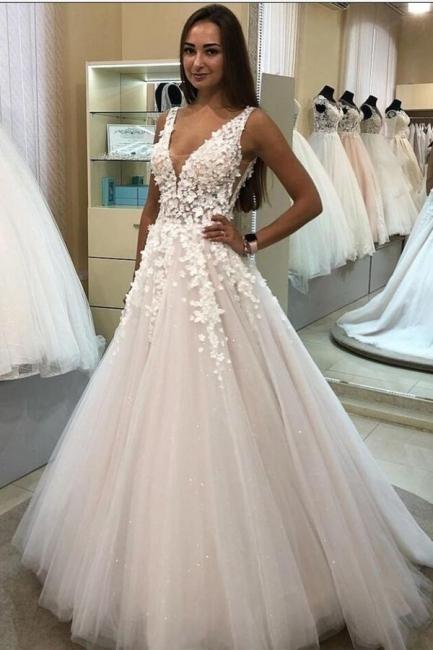 Wedding dresses V neckline | Wedding dresses A line lace