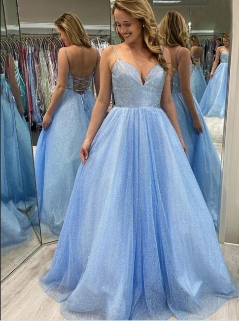 Evening dress light blue | Long glitter prom dresses