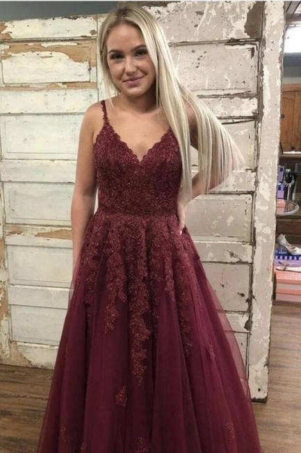Evening dresses long lace | Wine red prom dresses