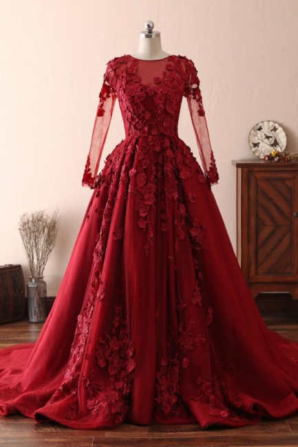 Elegant evening dresses with lace sleeves | Prom dresses long red