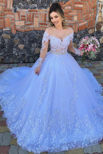Designer Wedding Dresses With Sleeves | Wedding dresses in tulle with lace