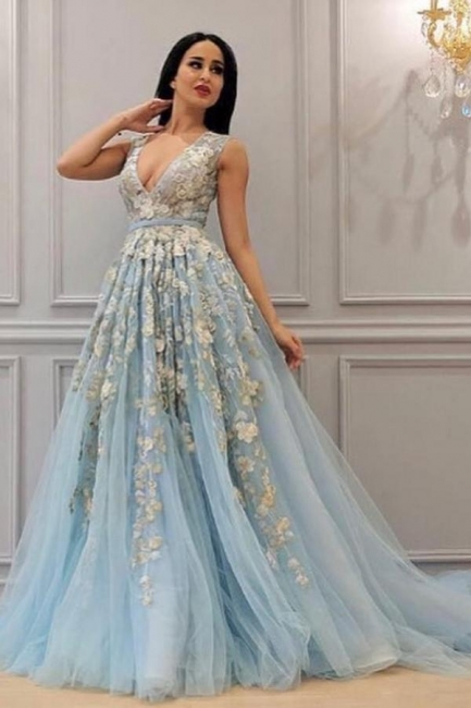Evening dresses long v neckline | Prom dresses prom dresses blue