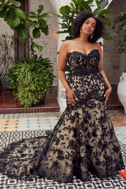 Wedding dresses mermaid lace | Black wedding dresses cheap