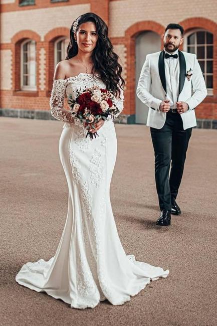 Schlichtes Brautkleid Mit Ärmel | Spitze Hochzeitskleider Meerjungfrau
