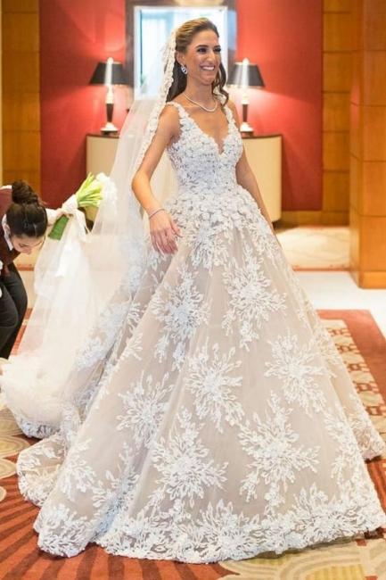 Elegante Brautkleider A Linie Spitze | Hochzeitskleider Online Kaufen