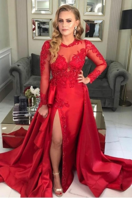 Prom dresses long red | Evening dresses with sleeves